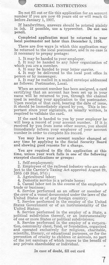 Social Security History - social security form