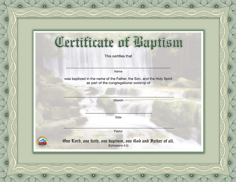 Certificate of Baptism Sunday School Publishing Board