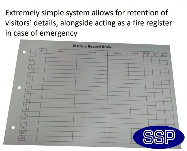 Executive Visitor Sign-in Book and Fire Register SSP Print Factory