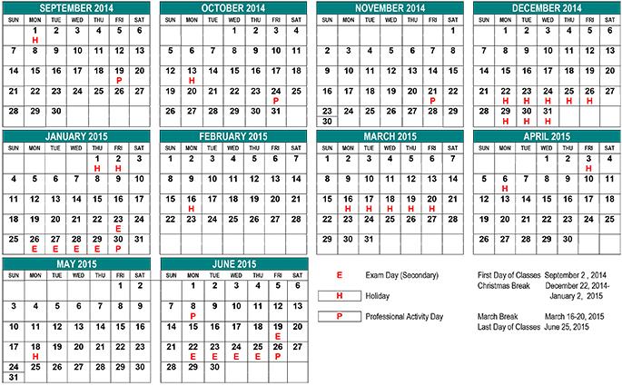 calendars canada 2015