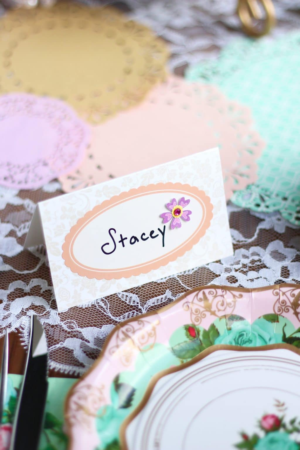DIY Jeweled Place Cards - Would be lovely for Bridal Shower or other party. #DIY #PlaceCards #Party