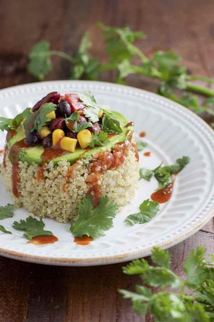 spicy avocado quinoa stacks