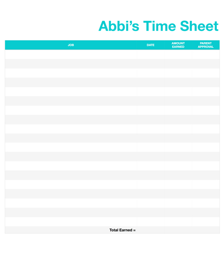 Stacey says\u2026 » Kids, jobs, chores, and time sheets\u2026