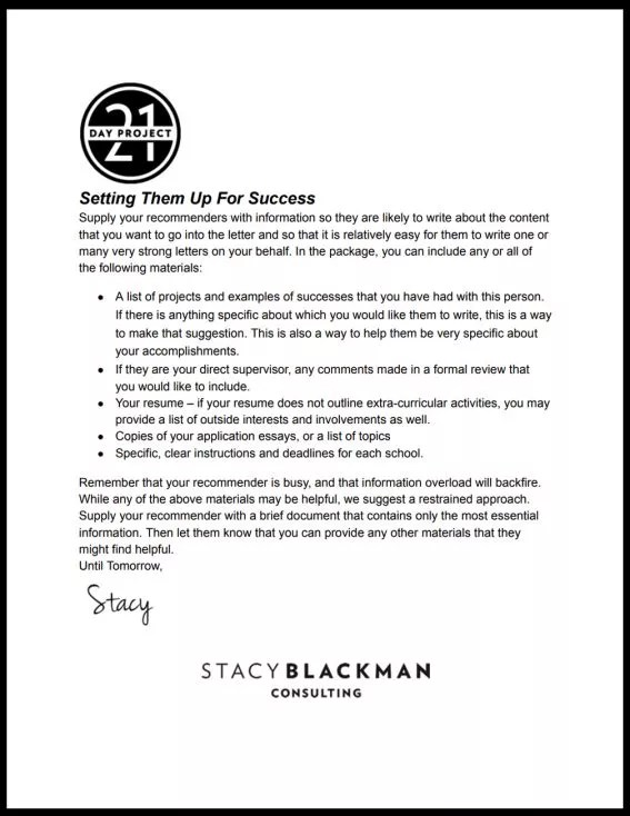 MBA Recommendation Letters of Recommendation Stacy Blackman