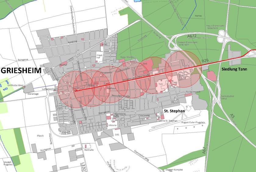 Griesheim heute: Große Teile der Stadt liegen nicht in Haltestellennähe (dargestellt sind 400m-Radien um die Haltestellen)
