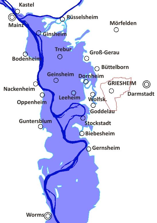 Hochwasser am 4.1.1883: dunkelblau das eigentliche Bett des Rheines und des Maines, hellblau die vom Hochwasser überschwemmten Flächen.