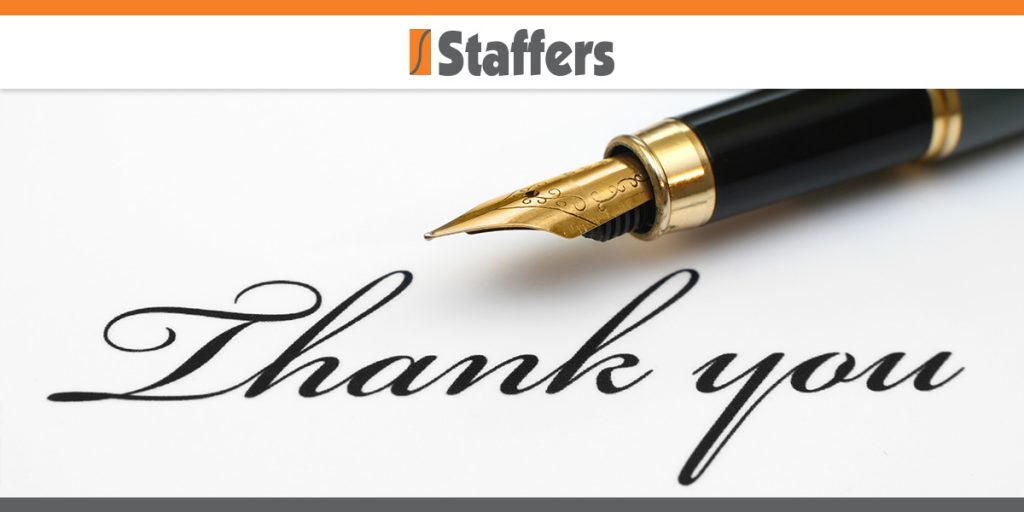 Acing Your Interview The Post Interview Thank-You Note - Staffers Inc