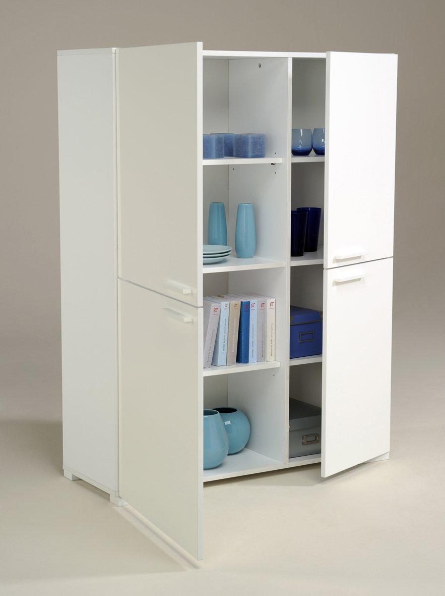 White Wood Storage Cabinets with Doors