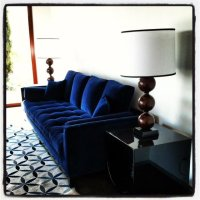 Blue Velvet Tufted Sofa - Home Furniture Design