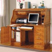 Oak Roll Top Computer Desk - Home Furniture Design