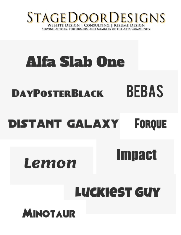 About Stage Door Designs Websites for Actors - what is a good font for a resume