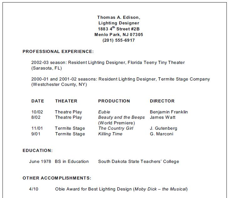 Stage Lighting for Students - inexperienced resume examples