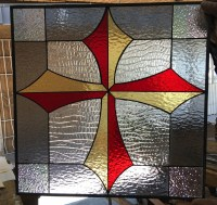 Awesome Gothic Cross Leaded Stained Glass Window Panel ...