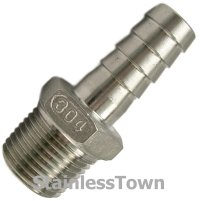Stainless Hose Barb Fitting 3/8 Hose x 3/8 Male NPT | eBay