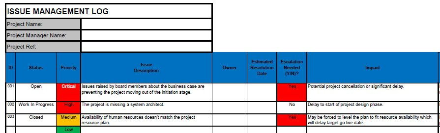 Issue Log FREE Project Issue Log Template in Excel - Project Design Template