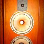 Old blown speakers in a wooden speaker box