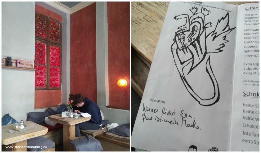 Kaffee und Kuchen in Hamburg - tekenen bij Kaffee Stark - Standort Hamburg