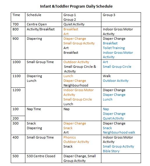 Newsletter \u003e Newsletter \u003e Infant Toddler Daily Schedule