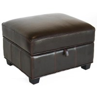 Wholesale Interiors Bicast Leather Storage Ottoman Black A ...