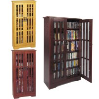 Leslie Dame CD Storage Cabinet With Glass Doors Oak ...