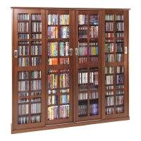 Leslie Dame Glass 4-Door Multimedia Storage Cabinet Walnut ...
