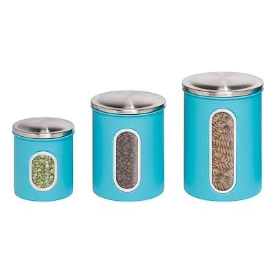 Honey Can Dor Steel Storage Canister Containers Blue