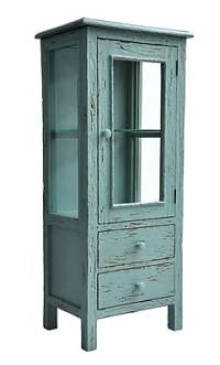 Casual Elements Curio Cabinet; Rustic Heavy Distressed ...