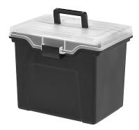 Staples Portable File Box with Organizer Top, Black ...