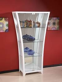 Chintaly Flair Curio Cabinet; Gloss White | Staples