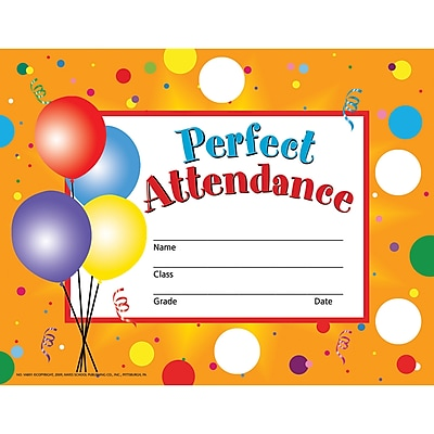 perfect attendance certificates