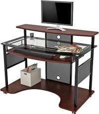 Z-Line Designs Cyrus Workstation Glass Desk, Cherry | Staples