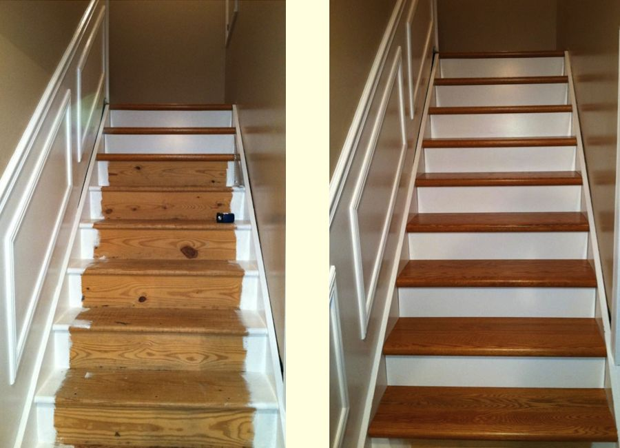 Starecasing Hardwood Overlay System Before After
