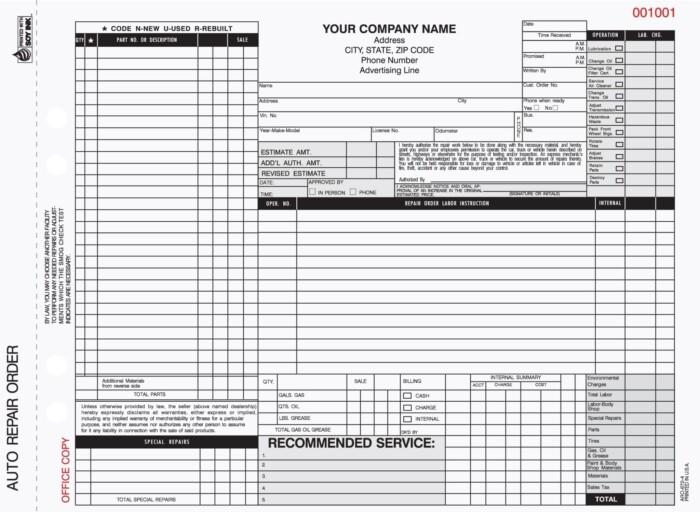 4-Part Auto Repair Work Order Forms - Valid in California Carbonless