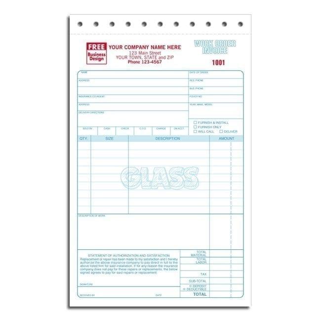 3 Part Glass Repair Work Orders Forms