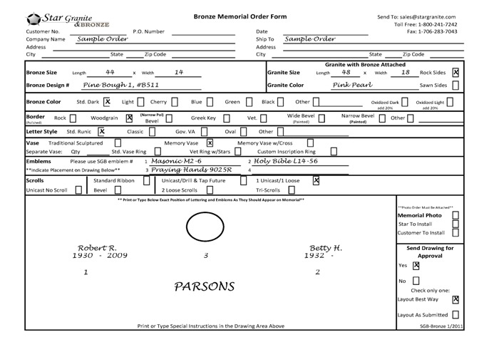 US Order Forms  Star Granite