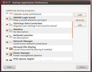 Ubuntu Startup Applications Preferences