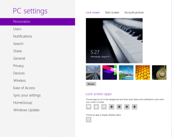 Windows 8 metro PC settings page