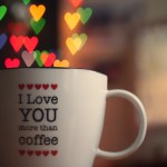 I love you more than coffee (heart bokeh) wallpaper