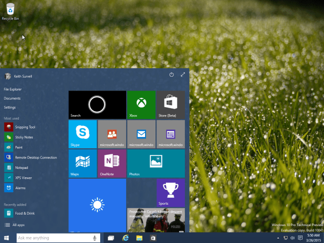 windows 10 - start menu (default size)