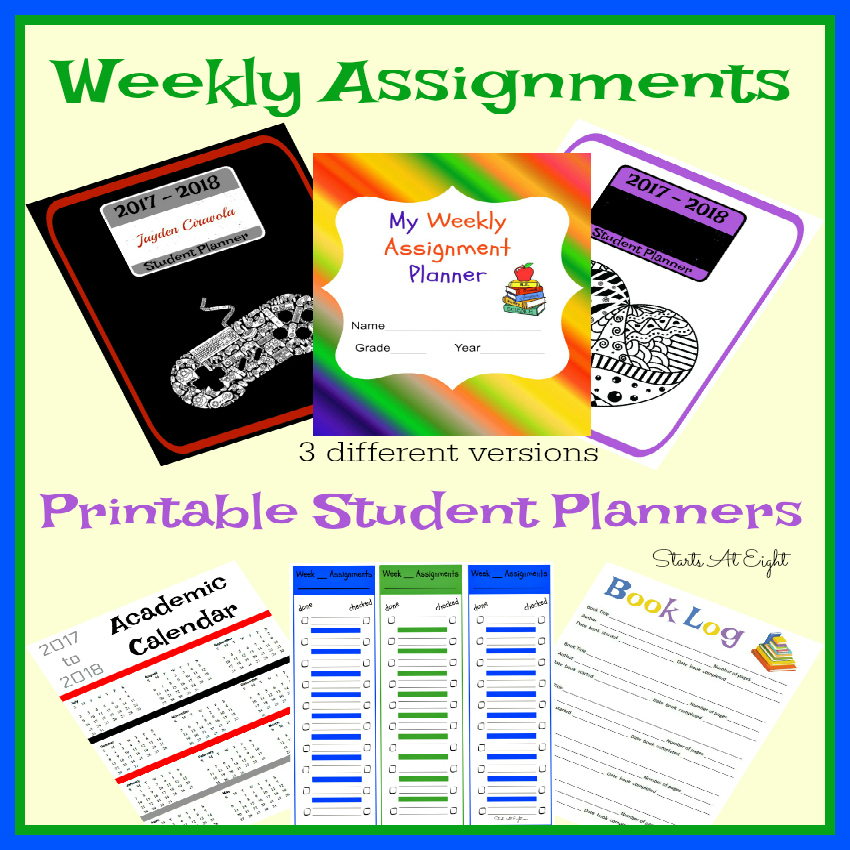 Weekly Assignments Printable Student Planner {Checklist Style