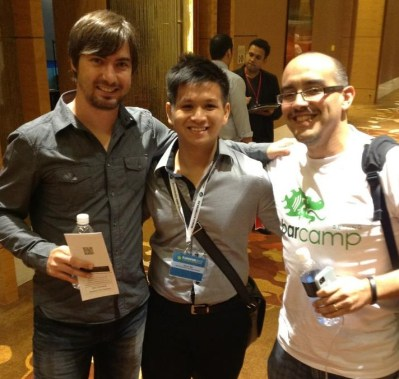 Albert Mai with Russel Simmons - CTO of Yelp and Dave McClure - 500startups at TechVenture 2012