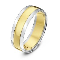 9kt White & Yellow Gold Court Grooved 7mm Wedding Ring