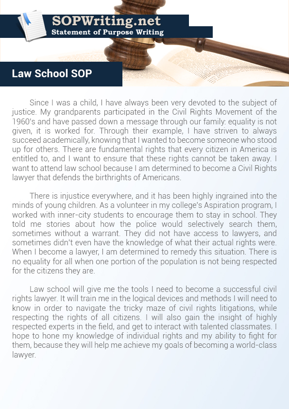 How to Write Law School Statement of Purpose Statement of Purpose