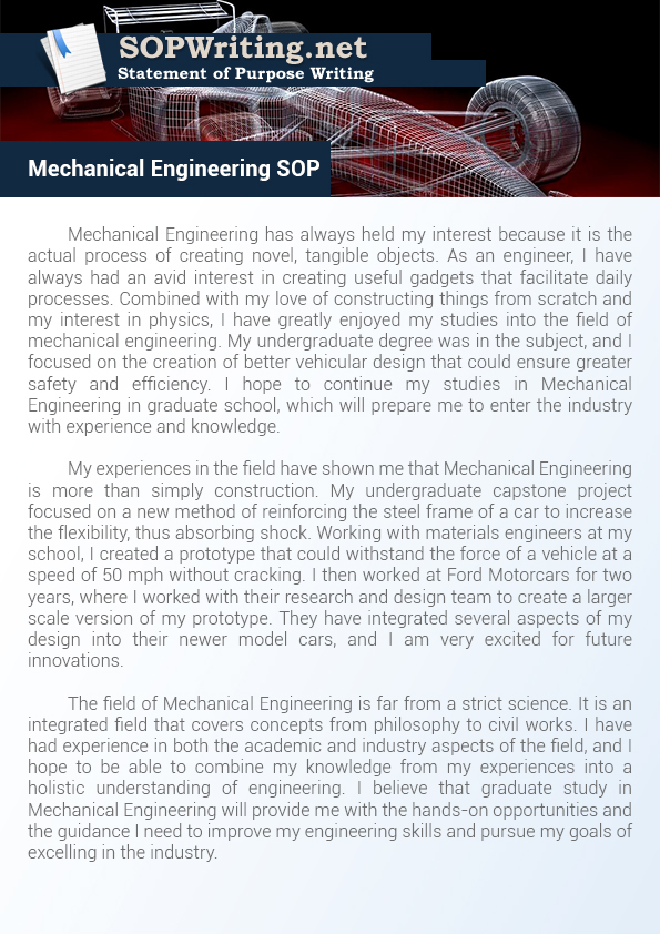 Sample Statement of Purpose Mechanical Engineering Statement of - statement of purpose graduate school sample