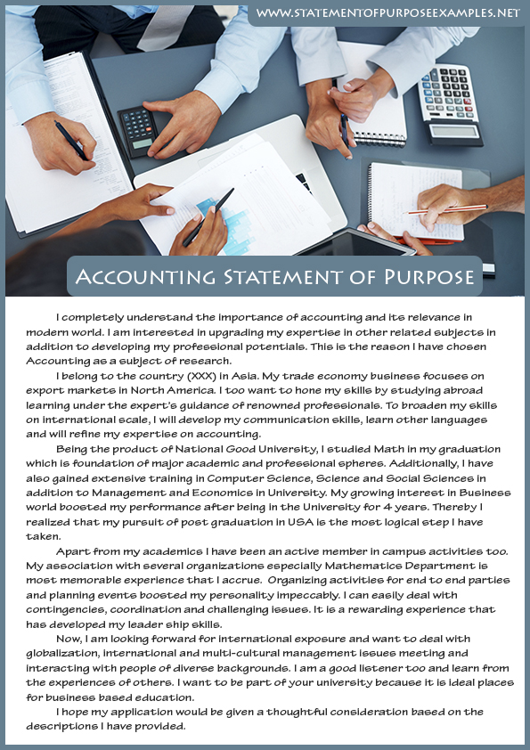 Best Sample Statement of Purpose Accounting Best Sample - accounting cover letters
