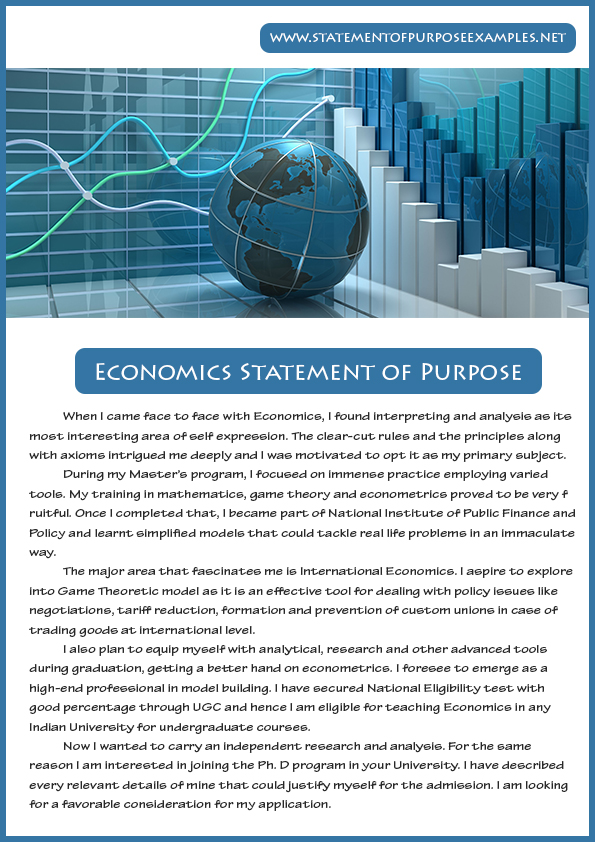 Statement of Purpose Sample Economics Statement of Purpose - sample statement of purpose