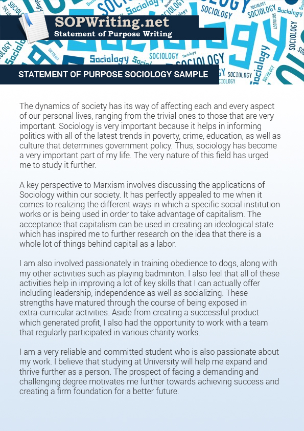 Don\u0027t Go by This Statement of Purpose Sociology Sample Statement - Sample Of Statement Of Purpose