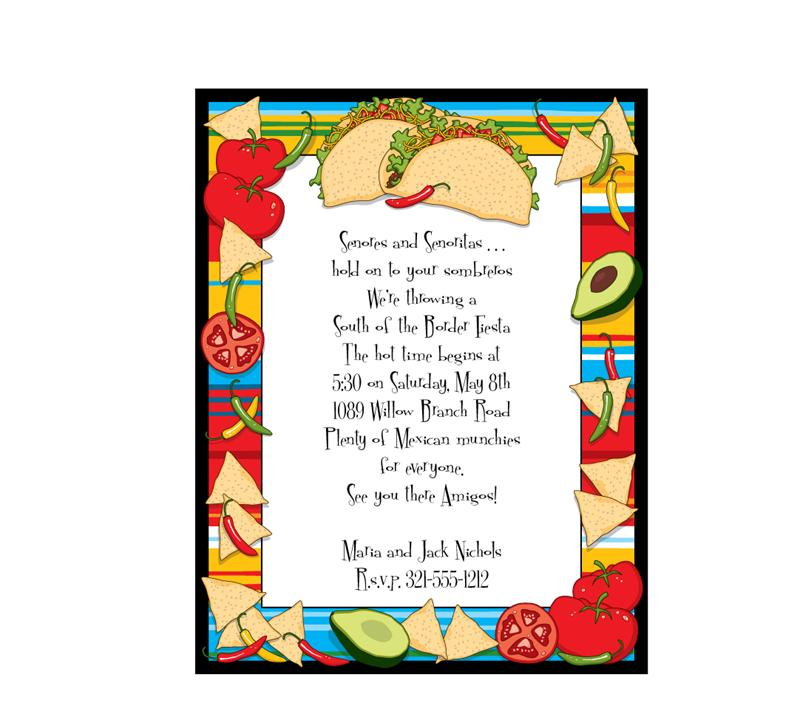 Taco Party Invitation Sheets - Blank