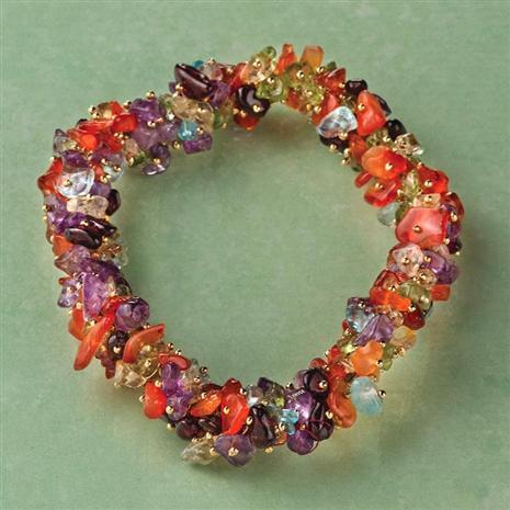 Mixed Gems Torsade Bracelet