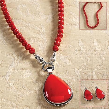 Fire Coral Pendant, Necklace & Earrings Set